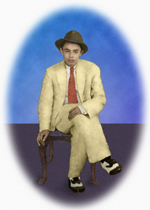 restored photo with person removed, background change, colorization, and vignette